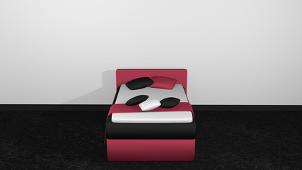 Modern bed in blackberry-black