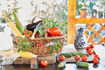 Basket with fresh picked vegetables on table in the garden.