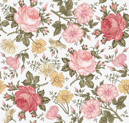 Seamless pattern. Beautiful pink blooming realistic isolated flowers. Vintage background. Chamomile Rose Petunia wildflowers. Wallpaper. Drawing engraving. Vector victorian Illustration.