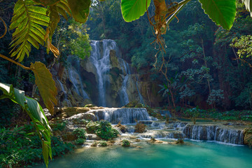 Laos Kuang Si national park waterfall