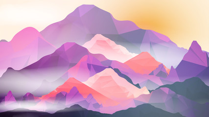 Geometric Mountain and Sunset Background - Vector Illustration.