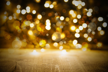 Golden Christmas Lights Background, Party Or Celebration Texture With Wood