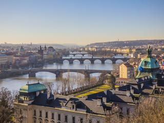 Spoed Fotobehang Praag Prague panorama with Vltava river, Czech Republic