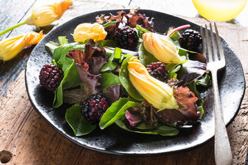 Blackberry and Squash Flower Salad