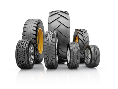 Set of tires for a different cars. 3d illustration on a white background.