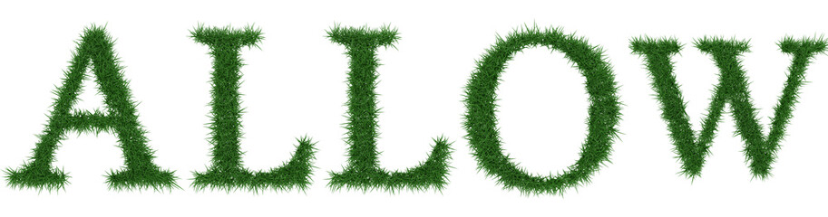Allow - 3D rendering fresh Grass letters isolated on whhite background.