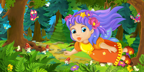 Cartoon background of fairy flying in the forest - illustration for children
