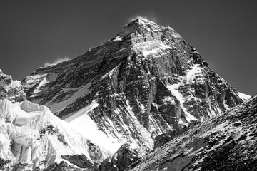 black and white Mount Everest from Gokyo valley