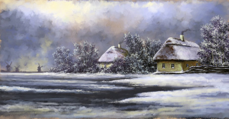Winter landscape paintings. Oil digital paint, art