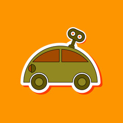 paper sticker on stylish background Kids toy car with key