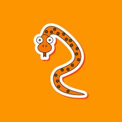 paper sticker on stylish background Kids toy snake