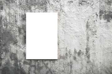 Concept of empty white blank canvas or poster for advertising on background of textured concrete wall