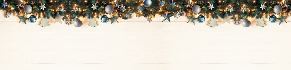 Turquoise Pamorama Christmas Banner, Instagram Filter, Copy Space