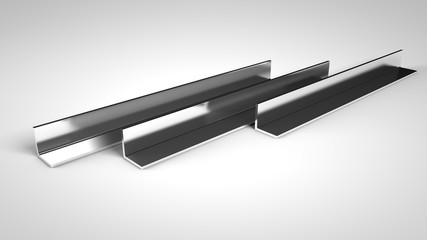 metal L-Profile bar.3d  render Illustration on white background.