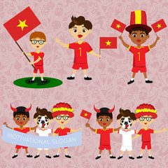 Set of boys with national flags of Vietnam. Blanks for the day of the flag, independence, nation day and other public holidays. The guys in sports form with the attributes of the football team