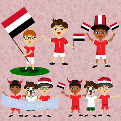 Set of boys with national flags of Yemen. Blanks for the day of the flag, independence, nation day and other public holidays. The guys in sports form with the attributes of the football team