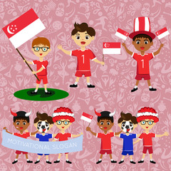 Set of boys with national flags of Singapore. Blanks for the day of the flag, independence, nation day and other public holidays. The guys in sports form with the attributes of the football team
