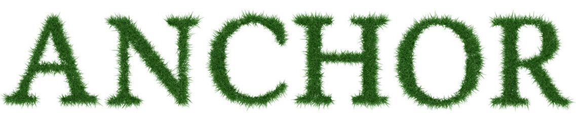 Anchor - 3D rendering fresh Grass letters isolated on whhite background.