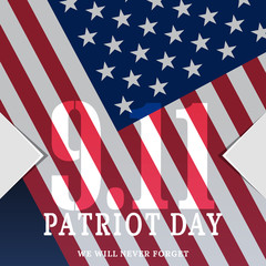 Vector poster of Patriot Day on the dark blue background with text and american flag.