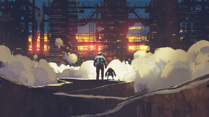 astronaut and little robot looking at futuristic city at sunset, digital art style, illustration painting