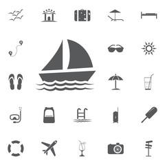 Yacht icon vector Summer set