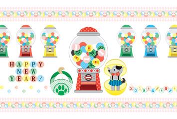 2018年戌年完成年賀状テンプレート「カプセルトイガチャガチャポン!」HAPPY NEW YEAR!
