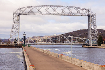 Lighthouse and bridge in Duluth