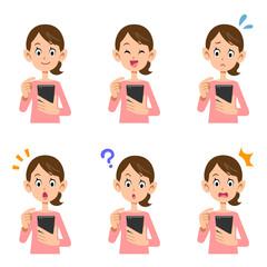 スマートフォン 操作 女性 表情