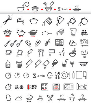 Cooking and preparation instructions. Set of sign for detailed guideline. Vector elements on a white background. Ready for your design.