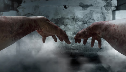First person view of zombie hands