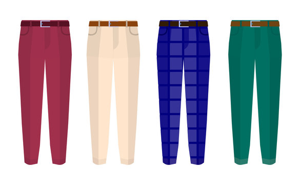 Set of classic trousers for men different color. Flat design Vector