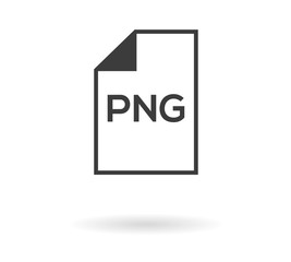 Simple greyscale icon with file and PNG text inside - can be used as button for download or upload .png file, isolated on white with shadow