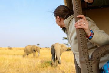 Woman on safari game drive