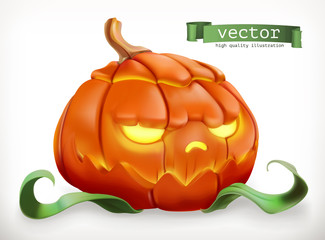 Carved pumpkin. Happy Halloween, 3d vector icon