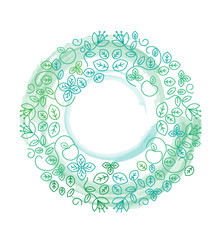 Mandala circle frame green leaves vector. Lines and watercolor background.