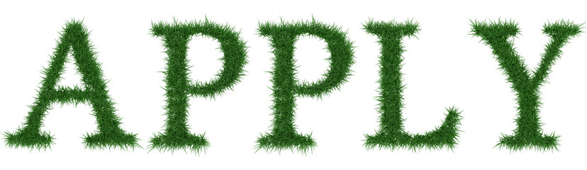Apply - 3D rendering fresh Grass letters isolated on whhite background.