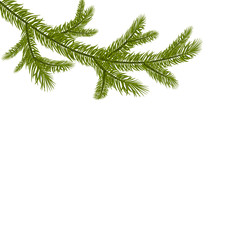 Symbol of the New Year. A green branch of spruce. Isolated against white background. illustration