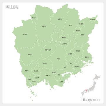 岡山県の地図