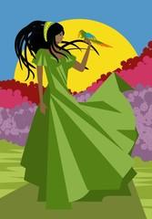 african rasta dreadlocks girl with parrot bird macaw and long dress