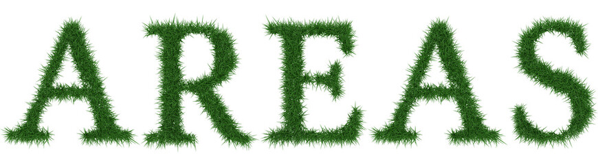 Areas - 3D rendering fresh Grass letters isolated on whhite background.