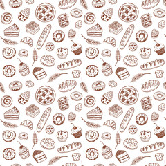 Lamas personalizadas para cocina con tu foto Seamless vector pattern with hand drawn doodle bakery products and pastries