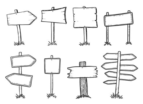 Hand drawn illustration of doodle wood road signs and arrows