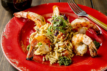 Fresh Shrimp and Risotto with Pesto