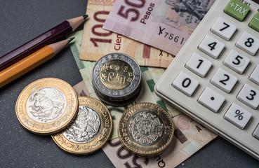 Peso Mexicano, Monedas y billetes  con calculadora