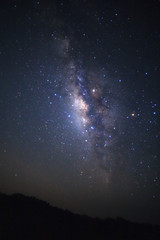 Milky way over mountain with stars and space dust in the universe at Phu Hin Rong Kla National Park,Phitsanulok Thailand