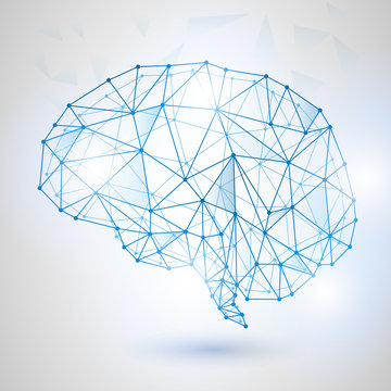 Technology Low Poly Design of Human Brain with Binary Digits