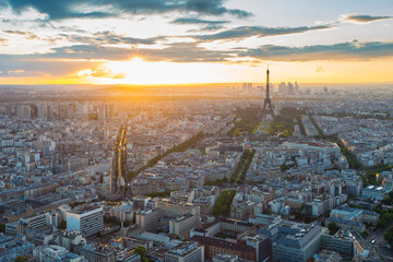 Eiffel Tower rooftop view with at sunset in Paris, France