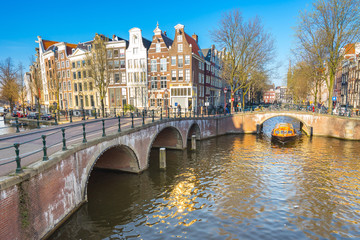 Wall Murals Amsterdam Dutch house style with the canal in Amsterdam city, Netherlands