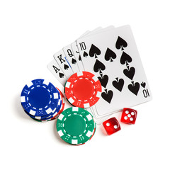Casino red dice, play cards as roial flush  and chips isolated