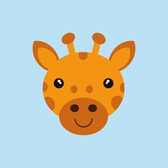 cute giraffe face cartoon vector